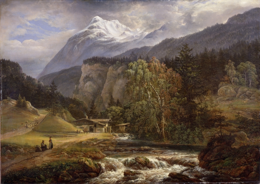 GNM330194 Alpine Landscape, 1821 (oil on canvas) by Dahl, Johan Christian (1788-1857); Germanisches Nationalmuseum, Nuremberg (Nuernberg), Germany; Norwegian, out of copyright